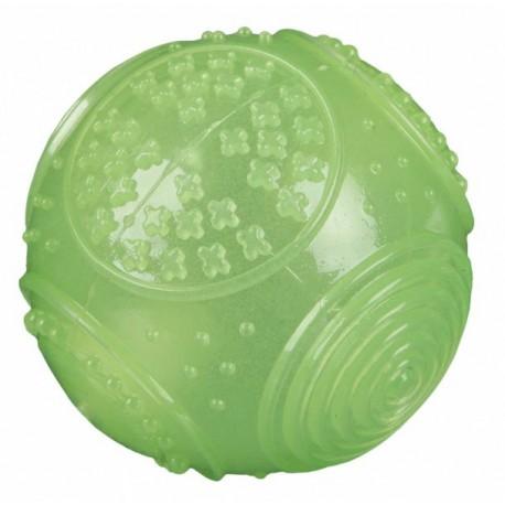 Vrhací míček fotbalový s dírami,tvrdá guma na pásku 7cm/22cm