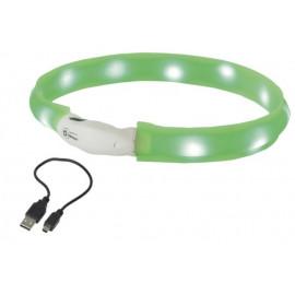 Nobby LED plochý svítící obojek pro psy zelený