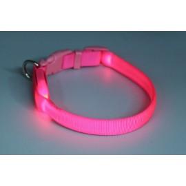 Obojek svítící syntetický popruh růžový - doprodej